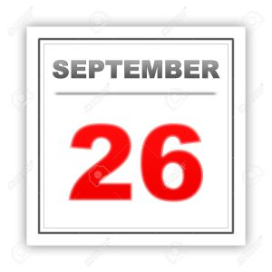 September 26. Day on the calendar. 3d